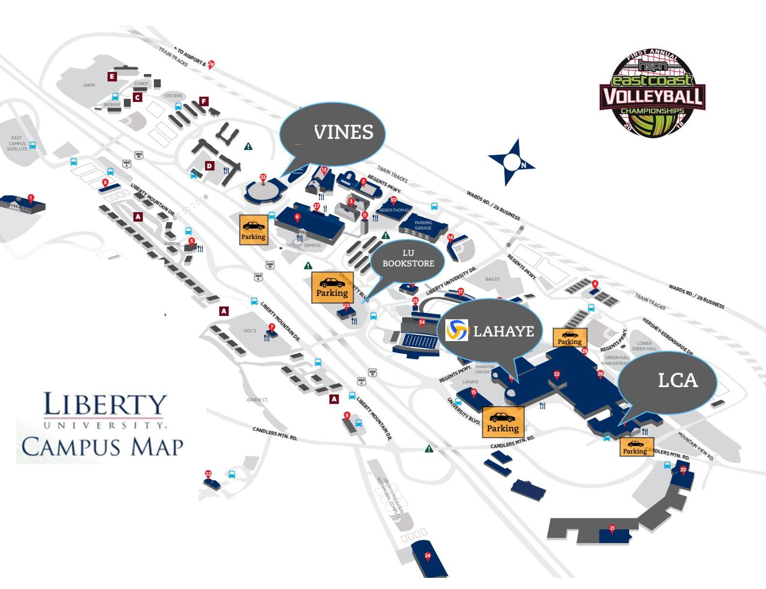 2018 East Coast Homeschool Volleyball Nationals Liberty University Campus Map