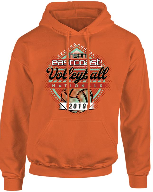 Orange hooded sweatshirt for the 2019 Tournament T-Shirt (front)