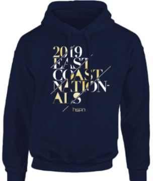 Navy blue hooded sweatshhirt for the 2019 Tournament T-Shirt (front)