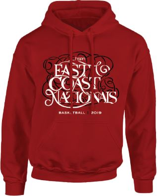 Cherry red hooded sweatshhirt for the 2019 Tournament T-Shirt (front)