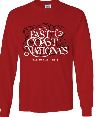 Long sleeve cherry red tee for the 2019 Tournament T-Shirt (front)