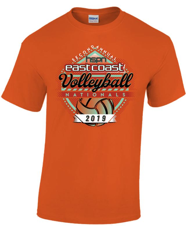 Short sleeve orange tee for the 2019 Tournament T-Shirt (front)
