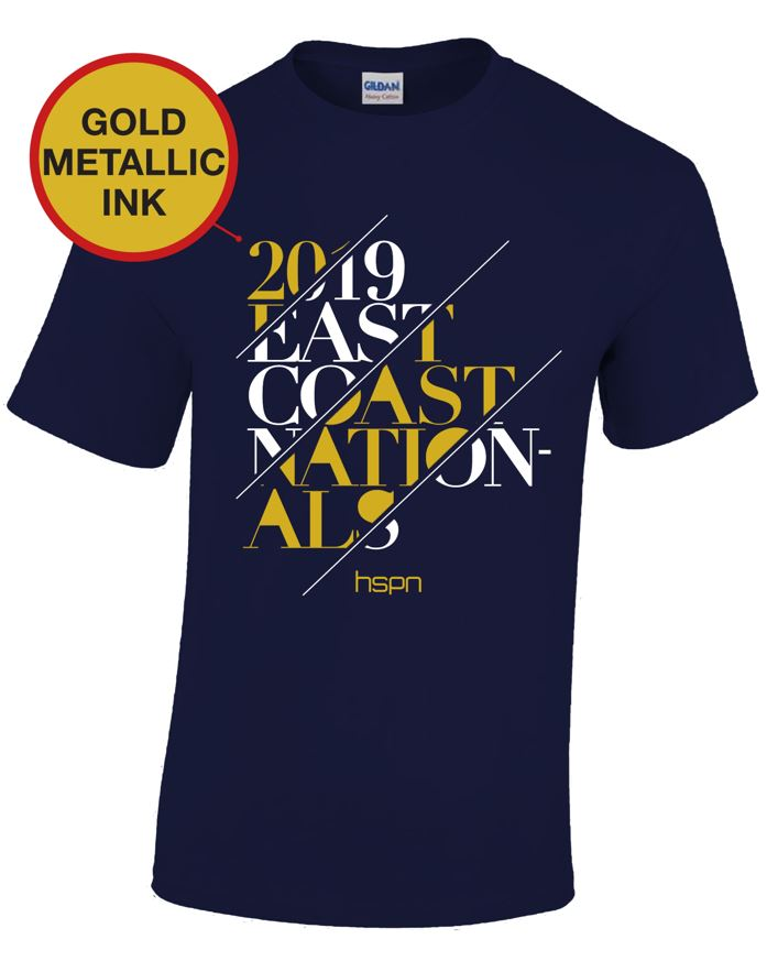 Short sleeve navy blue tee for the 2019 Tournament T-Shirt (front)