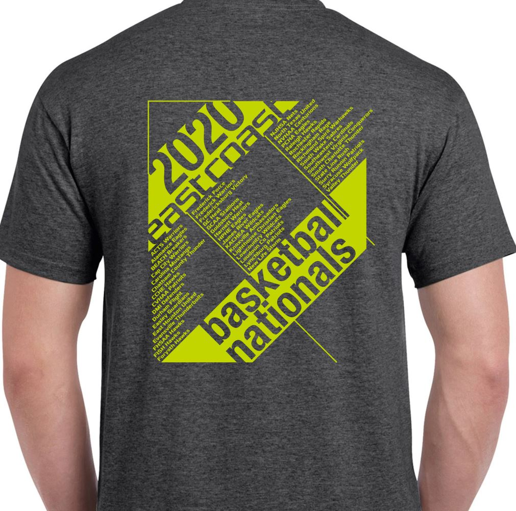 Short sleeve Heather Gray tee for the 2020 Tournament T-Shirt (front)
