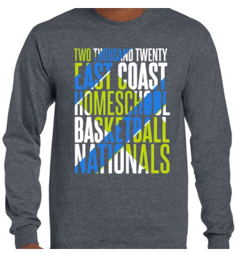 Long sleeve Heather Gray tee for the 2020 Tournament T-Shirt (front)