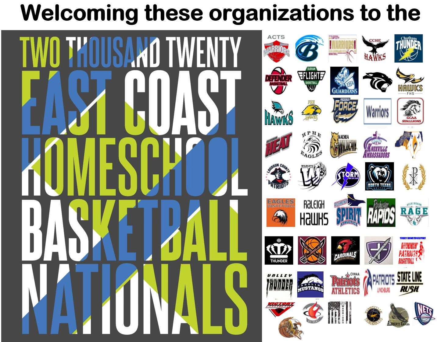 The 2020 East Coast Homeschool Basketball Nationals will be March 17-21, 2020 in Lynchburg, VA at the NCAA Division 1 campus of Liberty University